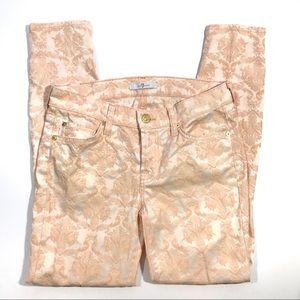 7FAM Light Pink Floral Embroidered Skinny Jeans 27